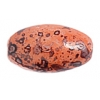 Glass Bead 12x7mm Oval Marble Wild Salmon - Strung